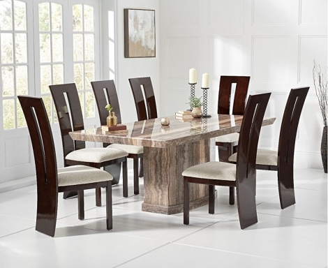 Como 200cm Brown Marble Dining Table and Valencie Chairs