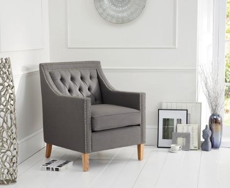 Casa Bella Grey Linen Fabric Armchair
