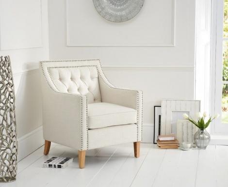Casa Bella Ivory Linen Fabric Armchair
