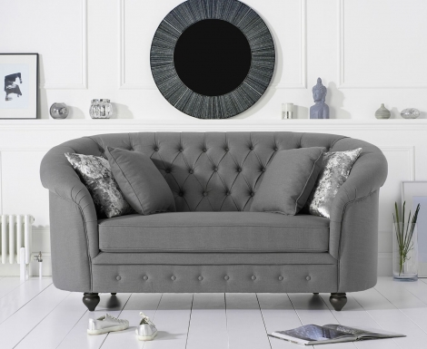 Casey Chesterfield Grey Linen Fabric 2 Seater Sofa