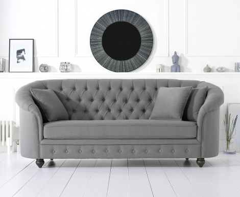 Casey Chesterfield Grey Linen Fabric 3 Seater Sofa