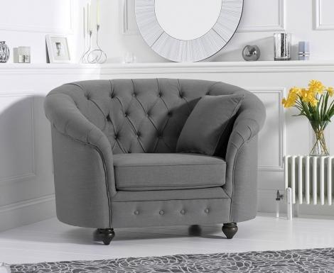 Casey Chesterfield Grey Linen Fabric Armchair