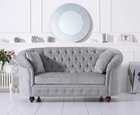 Casey Chesterfield Grey Plush Fabric 2 Seater Sofa