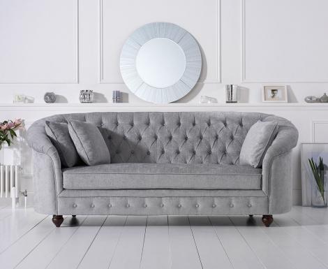 Casey Chesterfield Grey Plush Fabric 3 Seater Sofa