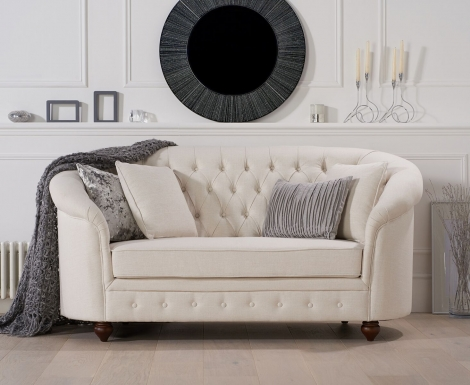 Casey Chesterfield Ivory Linen Fabric 2 Seater Sofa