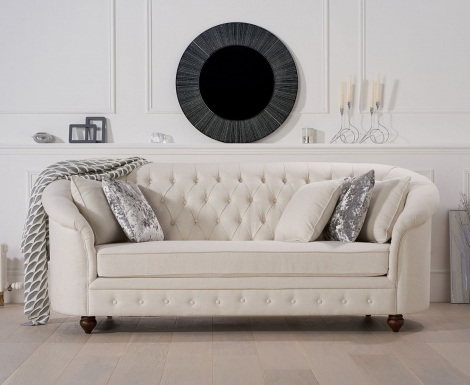 Casey Chesterfield Ivory Linen Fabric 3 Seater Sofa