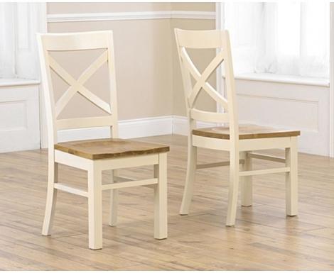 2x Cavanaugh Oak & Cream Chairs (Pair)