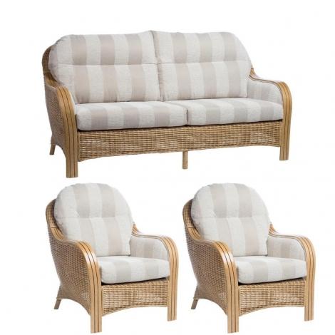 Desser, Centurion, Light Oak, Cane 3 Seater Sofa & 2 Chairs