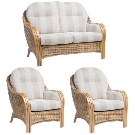 Desser, Centurion, Light Oak, Cane 2 Seater Sofa & 2 Chairs