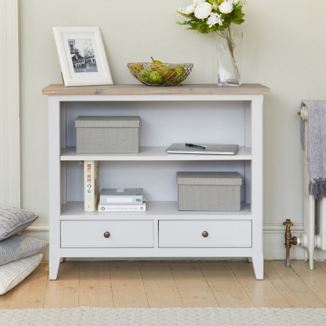 Autograph Grey Painted Low Bookcase