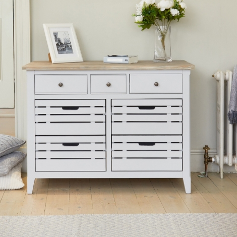Autograph Grey Painted 7 Drawer Servery Narrow Sideboard