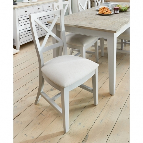 2x Autograph Grey Painted Fabric Dining Chair (Pair)
