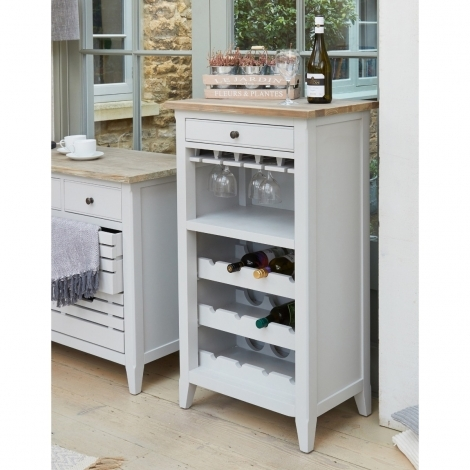 Autograph Grey Painted Wine Rack with Drawer