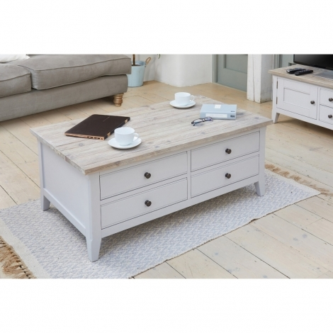 Autograph Grey Painted 4 Drawer Large Storage Coffee Table