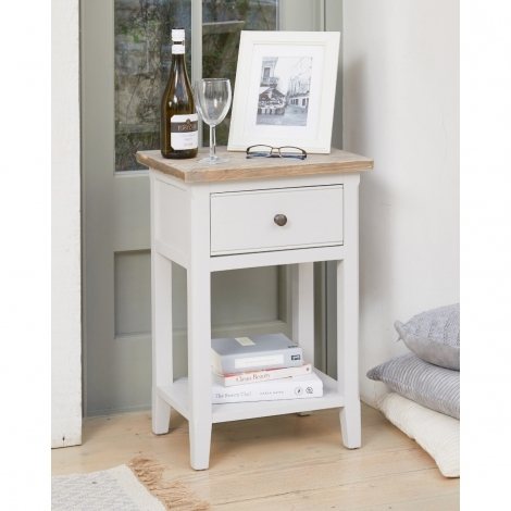Autograph Grey Painted One Drawer Lamp Table