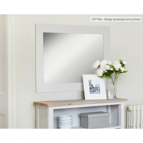 Autograph Grey Painted Rectangular Overmantel Mirror - 81cm-111cm