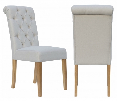 2x Camden Roll Back Natural Fabric Dining Chair With Light Leg (Pair)