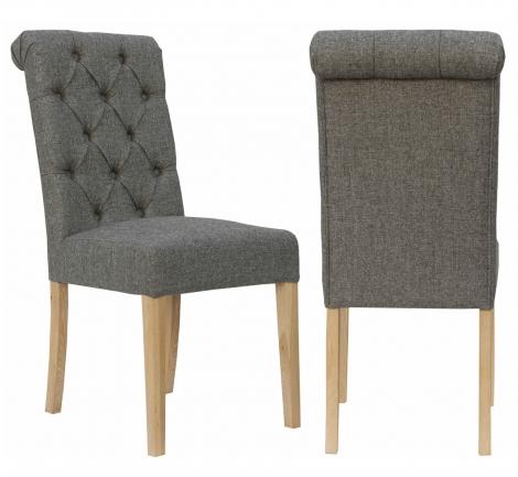 2x Camden Roll Back Dark Grey Fabric Dining Chair With Light Leg (Pair)