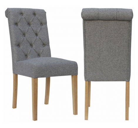 2x Camden Roll Back Light Grey Fabric Dining Chair With Light Leg (Pair)