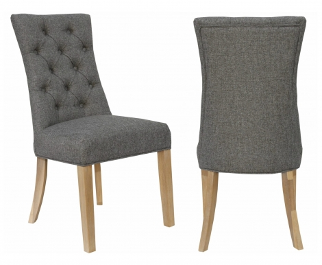 2x Cambridge Dark Grey Fabric Dining Chair With Buttoned Wing Back (Pair)