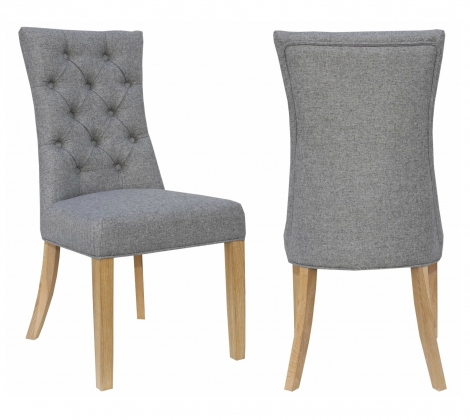 2x Cambridge Light Grey Fabric Dining Chair With Buttoned Wing Back (Pair)