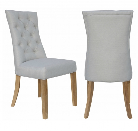 2x Cambridge Natural Fabric Dining Chair With Buttoned Wing Back (Pair)