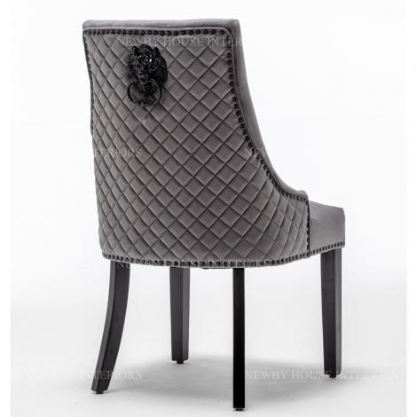 Charleston, Dark Grey French Velvet, Black Metal Lion Knocker Back Dining Chair With Black Wooden Legs