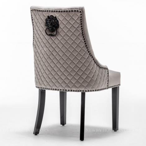 Charleston, Light Grey French Velvet, Black Metal Lion Knocker Back Dining Chair With Black Wooden Legs