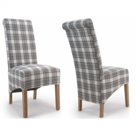 2x Banbury Roll Back Check Fabric Dining Chair With Solid Oak Legs (Pair)