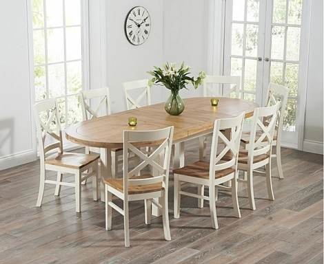 Cheyenne 167cm - 247cm Extending Oak and Cream Oval Dining Table With Cavanaugh Chairs
