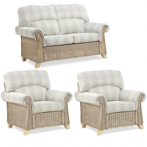 Desser, Clifton, Natural Wash, Cane 2 Seater Sofa & 2 Chairs