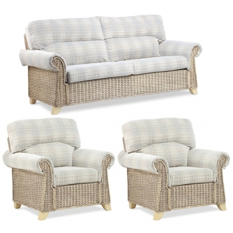 Desser, Clifton, Natural Wash, Cane 3 Seater Sofa & 2 Chairs