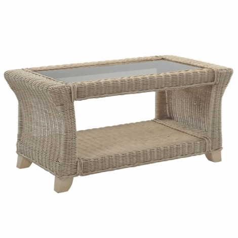Desser, Clifton, Natural Wash, Cane Coffee Table & Bronze Glass