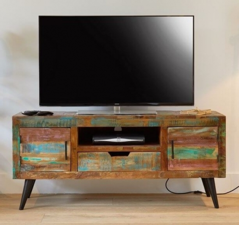 Reclaimed Painted Widescreen TV Cabinet