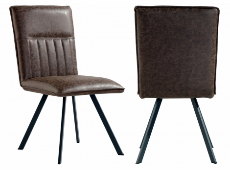 2x Colorado Brown Faux Leather Dining Chair With Metal Legs (Pair)