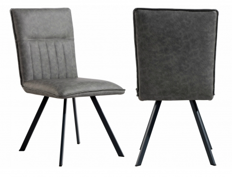 2x Colorado Grey Faux Leather Dining Chair With Metal Legs (Pair)