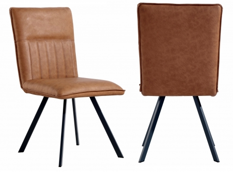 2x Colorado Tan Faux Leather Dining Chair With Metal Legs (Pair)