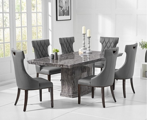 Como 200cm Grey Marble Dining Table and Fredo Chairs