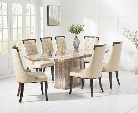 Como 200cm Brown Marble Dining Table and Aviva Chairs