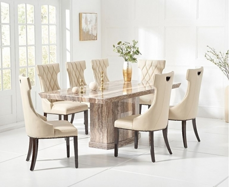 Como 200cm Brown Marble Dining Table and Fredo Chairs