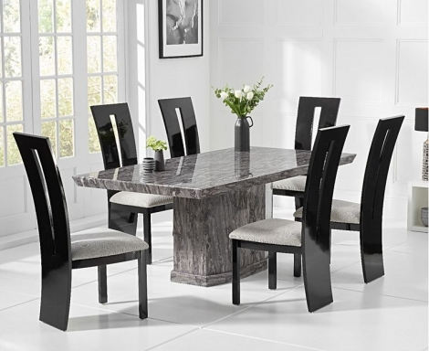Como 160cm Grey Marble Dining Table and Valencie Chairs