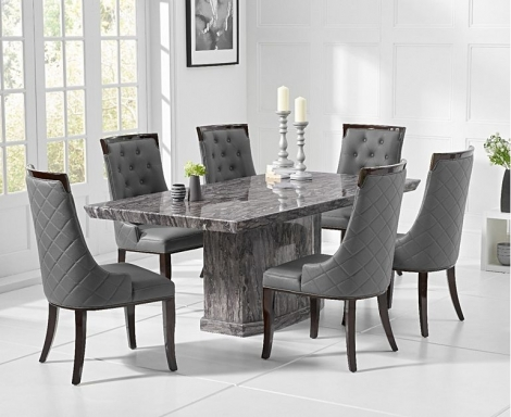 Como 200cm Grey Marble Dining Table and Aviva Chairs
