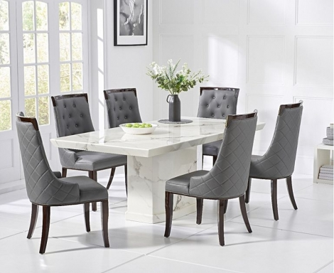 Como 160cm White Marble Dining Table and Aviva Chairs