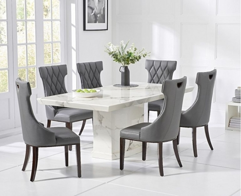 Como 160cm White Marble Dining Table and Fredo Chairs