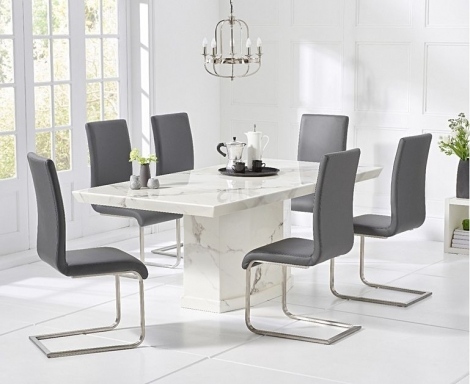 Como 160cm White Marble Dining Table and Malibu Chairs