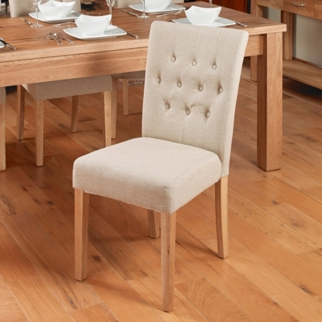 2x Mobel Oak Flare Back Upholstered Dining Chair - Biscuit (Pack of Two)