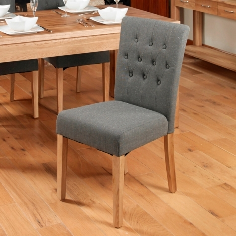 2x Mobel Oak Flare Back Upholstered Dining Chair - Slate (Pack of Two)