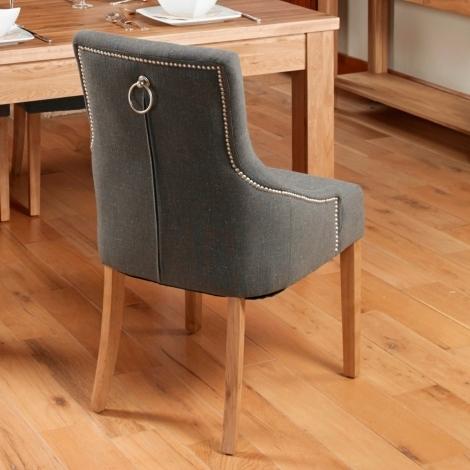 2x Slate Fabric, Oak leg, Ring back / Knocker Back Dining Chair (Pack of Two)