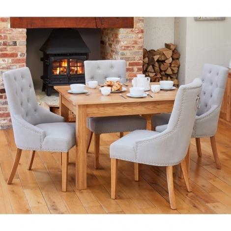Mobel Oak 120cm Oak Table & Light Grey Fabric, Ring Back / Knocker Back, Dining Chairs