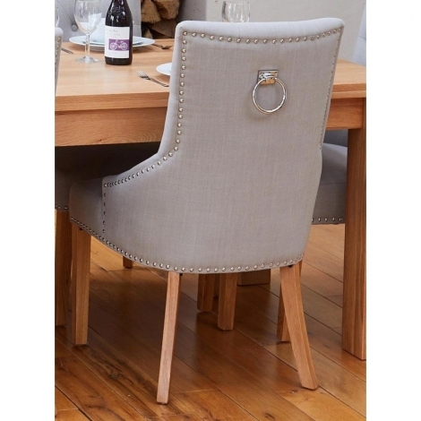 2x Light Grey Fabric, Oak Leg, Ring Back / Knocker Back, Dining Chair (Pack of Two)